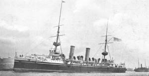 The cruiser Minerva, part of the escort for the voyage to Egypt